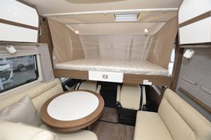 The drop down bed in the Hymer B-ML I 890