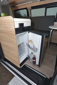 The fridge in the Hymer DuoCar S motorhome