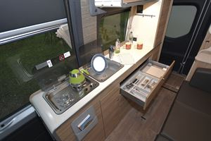The kitchen in the Hymer DuoCar S motorhome