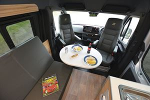 The lounge in the Hymer DuoCar S motorhome