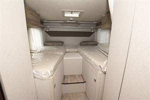 The bedroom in the Hymer Exsis-i 580 motorhome