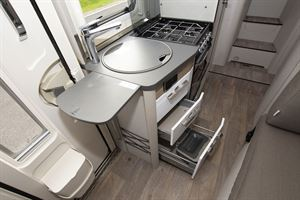 A closer look at the kitchen in the Hymer Exsis-i 580 motorhome
