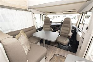 The lounge and cab area in the Hymer Exsis-i 580 motorhome