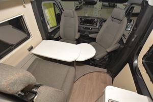 The living area with dining table in the Hymer Free 600 S campervan