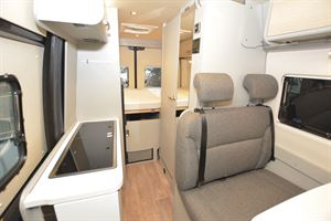 A view of the interior in the Hymer Free 600 S campervan