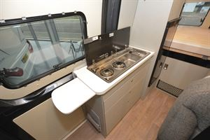 The kitchen in the Hymer Free 600 S campervan