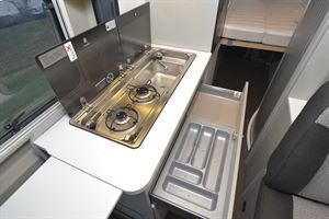 Close up of the hob in the Hymer Free 600 Campus