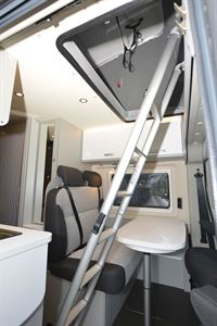 Ladder access to the roof bed in the Hymer Free 600 Campus