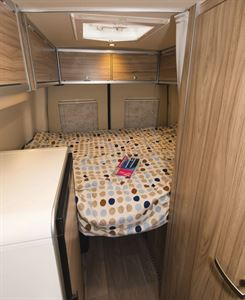 The bed in the Hymer Grand Canyon campervan