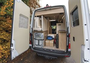 Showing rear storage capacity in the Hymer Grand Canyon campervan
