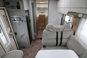 Looking rearwards from the cab in the Hymer TGL 578 Ambition