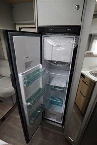 The large fridge/freezer in the Hymer TGL 578 Ambition