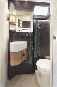 Hymer's Vision Venture concept has a washroom with a toilet and basin