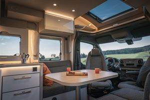 The cab and lounge in the Hymer T-Class S 695 motorhome