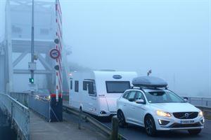 Crossing Pegasus Bridge towing the Caravelair Antares 480