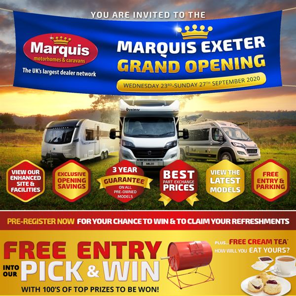Marquis Motorhomes & Caravans, the UK's largest motorhome and caravan dealership network, is holding an official grand opening of its 13th dealership