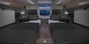 The rear bedroom, with 'Stargazer' roof - picture courtesy of the Swift Group