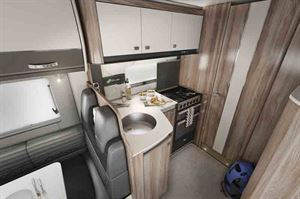 The kitchen has a 190-litre fridge/freezer - picture courtesy of the Swift Group