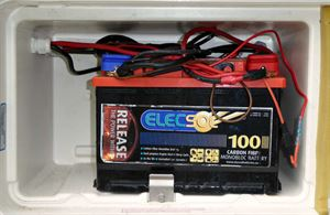 This caravan's leisure battery is overcrowded with wires