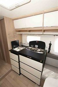 The kitchen - picture courtesy of Southdowns Motorcaravans
