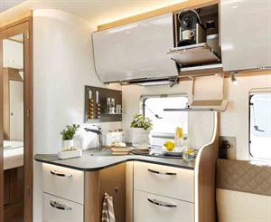 The kitchen in the Ixeo I 736 - picture courtesy of Erwin Hymer Group