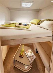 The drop down bed in the rear lounge of the 744 - picture courtesy of Erwin Hymer Group