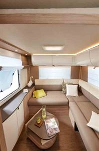 The rear lounge in the Ixeo I 744 - picture courtesy of Erwin Hymer Group