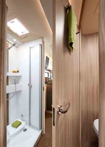 The shower in the 744 - picture courtesy of Erwin Hymer Group
