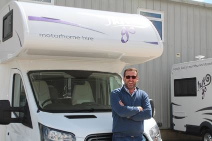 Just Go founder Nick Roach outside one of the company's rental motorhomes