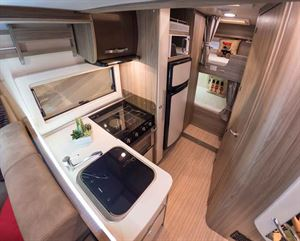 Kitchen with bunks aft