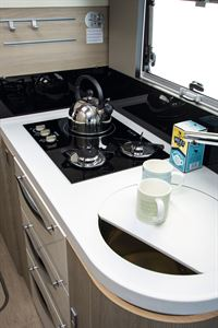 The kitchen in the Mobilvetta K-Yacht 80