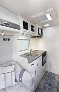 The kitchen in the Auto-Sleeper Kemerton XL campervan