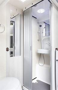 The shower in the Auto-Sleeper Kemerton XL campervan