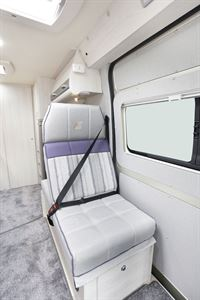 One of the three belted travel seats in the Auto-Sleeper Kemerton XL campervan