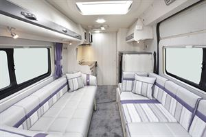 The lounge with bench seating in the Auto-Sleeper Kemerton XL campervan