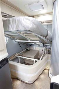 The bed has a large storage area underneath - picture courtesy of Auto-Sleepers