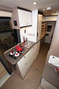 The kitchen in the new Burstner City Car Harmony Line C 603 campervan