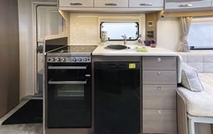 The kitchen in the Lunar Clubman ES caravan