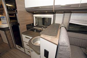 The kitchen in the Knaus Live I 700 MEG motorhome