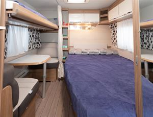 A view of the bed layout in the Knaus Northstar 590 caravan
