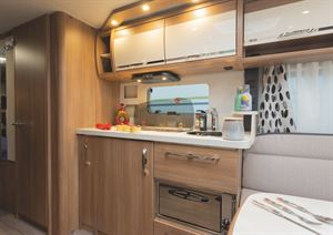The kitchen in the Knaus Northstar 590 caravan