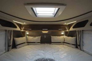 The bedroom is one of the star features of this Knaus motorhome - picture courtesy of Southdowns Motorcaravans
