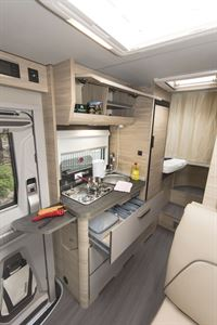 The kitchen in the Knaus Van TI Plus 650 MEG 4x4 motorhome