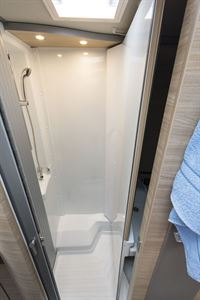The shower in the Knaus Van TI Plus 650 MEG 4x4 motorhome