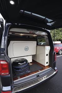 The rear doors open in the Knights Custom Prestige Tourer campervan