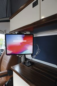 Close up of the TV in the Knights Custom Prestige Tourer campervan