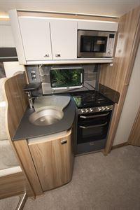 The kitchen in the Swift Kon-tiki Sport 560 motorhome