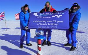Ladram Bay's flag at the South Pole
