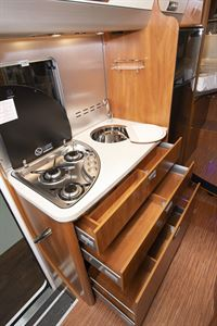 Close up of the kitchen in the Laika Ecovip 609 motorhome
