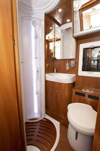 The shower in the Laika Ecovip 609 motorhome